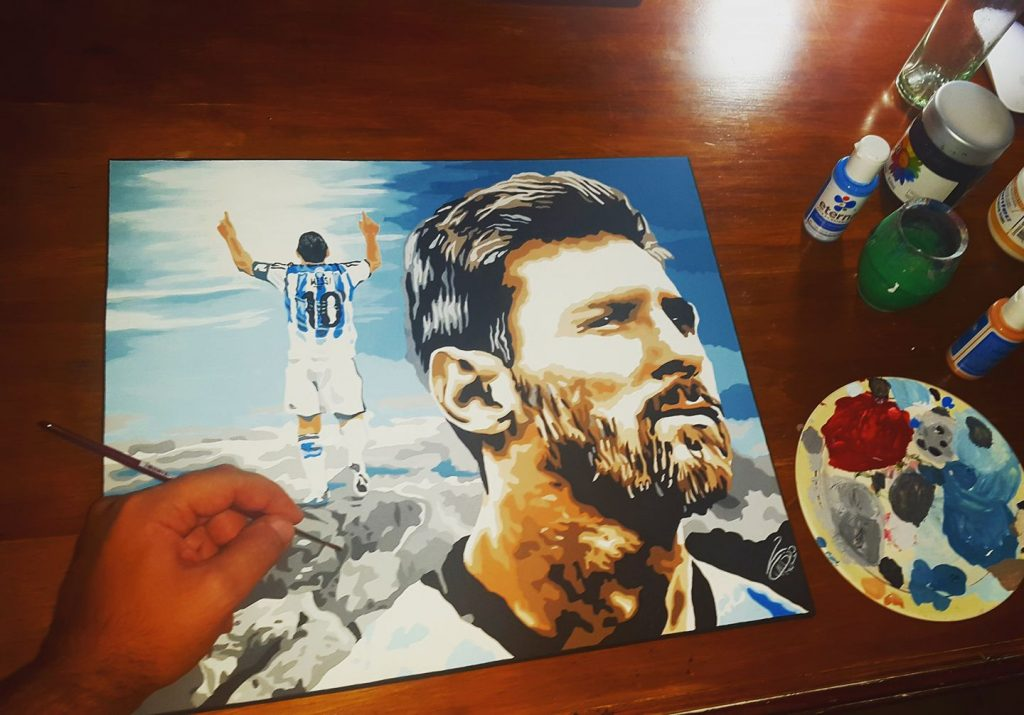 Claudio Rengach- pintura Messi