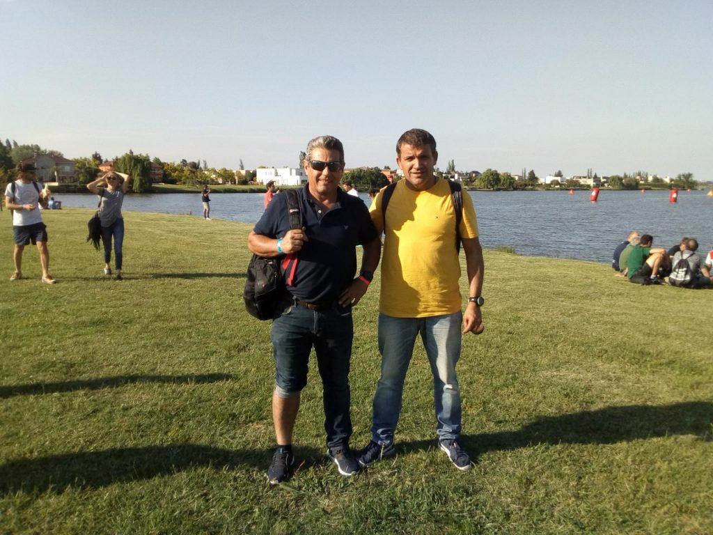 Diego Carioli y Eduardo Aguirre antes de comenzar el Iron Man en Tigre