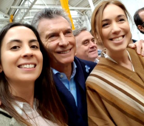 María Lucas junto a Mauricio Macri y Maria Eugenia Vidal