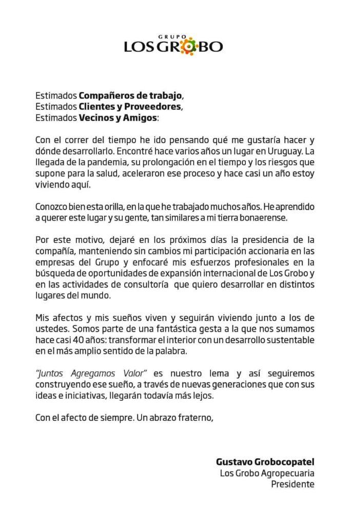 Carta Gustavo Grobocopatel